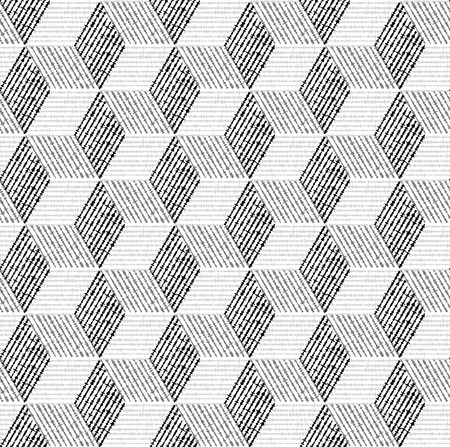Seamless geometric pattern with cubes and vary width lines