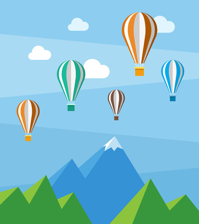 Vector flat nature scene with mountains and air balloons Illustration