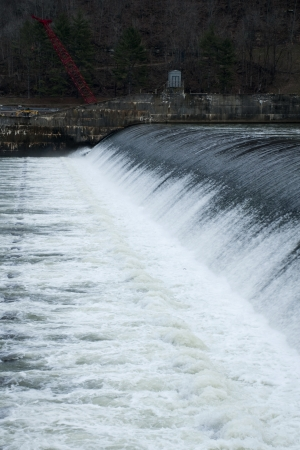 A winter waterfall effect from the Bluestone Dam.