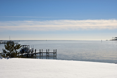 Winter snow covered shore Stock Photo