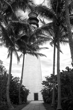 Black and White Florida Lighthouse in Key Biscayne