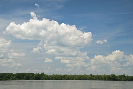 View from a Boat of the Sky off the James River in Virginia