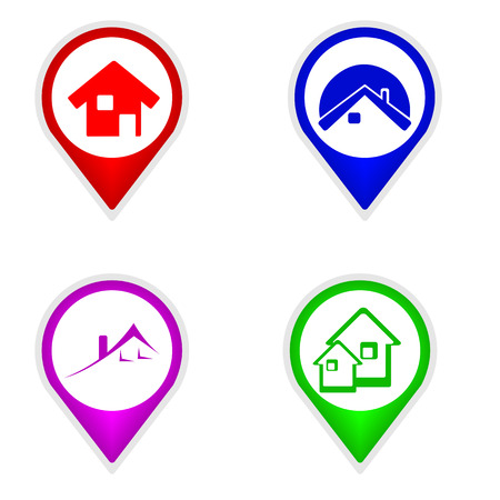 violet residential: This is set of map pointers house
