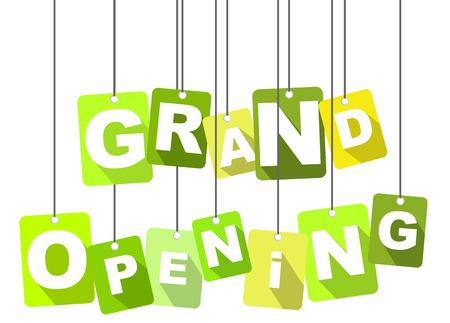apertura: Esta es la etiqueta verde inauguración Vectores