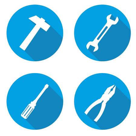 This is set blue tools icons Çizim