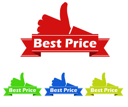 green banner: This is best price stickers