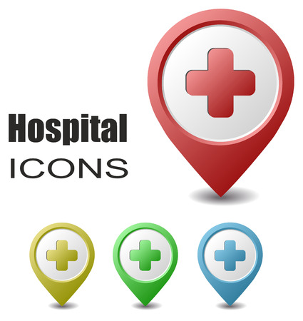 pointer: This is set hospital map pointers Illustration