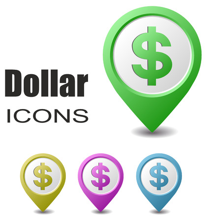 dollar signs: This is set dollar map pointers Illustration