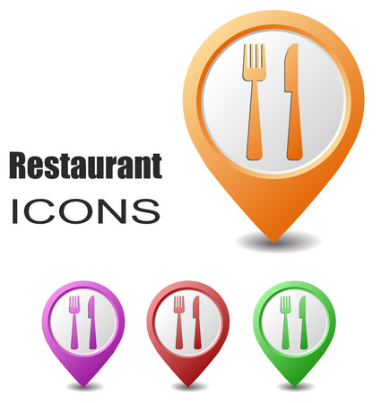 map pointers: This is set restaurant map pointers