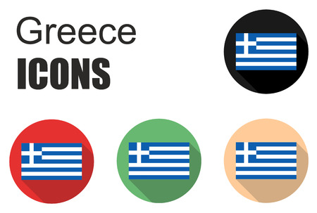 cold cuts: This is set greece flat icons Illustration