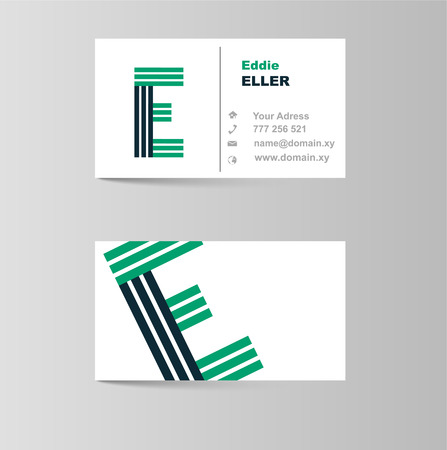e card: This is business card for letter E