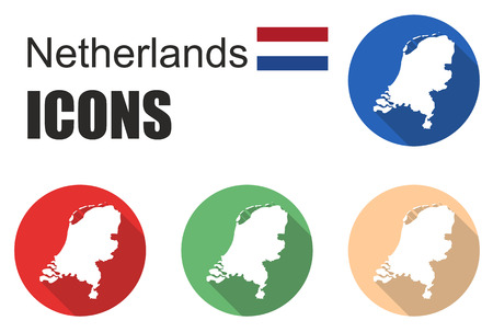 made in netherlands: This si set flat icons netherlands