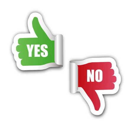 yes no: This si yes no hand stickers Illustration