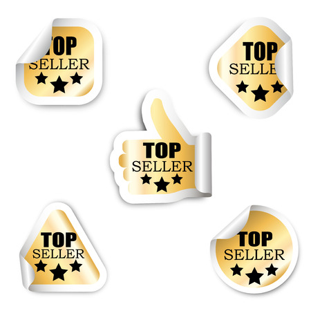 top seller: This is set five stickers - top seller Illustration