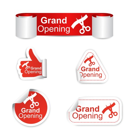 grand sale icon: This is set of stickers - grand opening