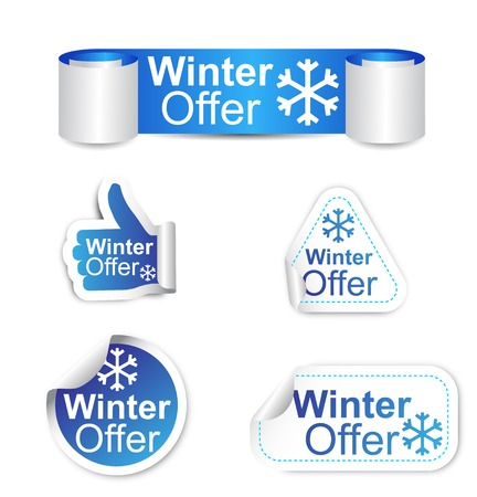 This is set of stickers - winter offer Stock Illustratie