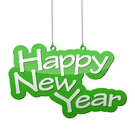 happy new year banner: This is vector background green isolated happy new year Illustration