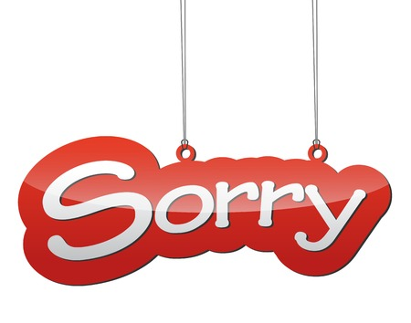sorry: This is red vector illustration - tag background sorry