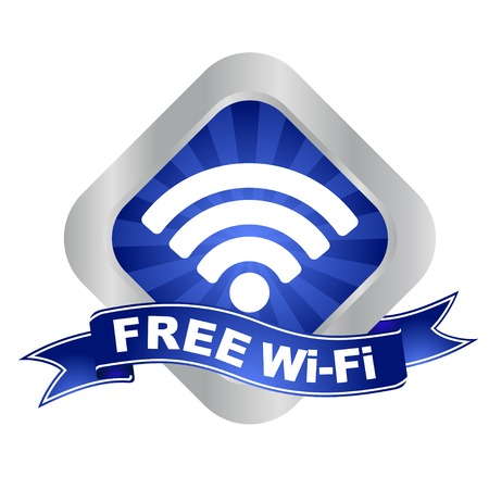 communication icons: This is blue - silver vector sign free wifi
