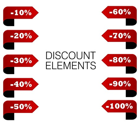 This is set red discount percent elements Illustration