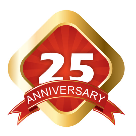 This is red and gold sign twenty five anniversary