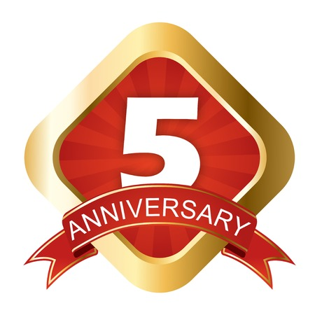 This is red and gold sign five anniversary Illustration