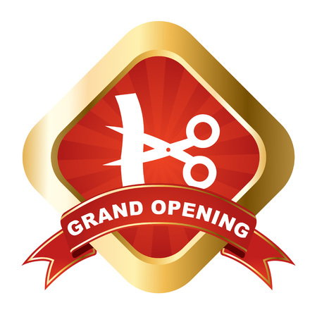 inaugural: This is red - gold vector sign grand opening