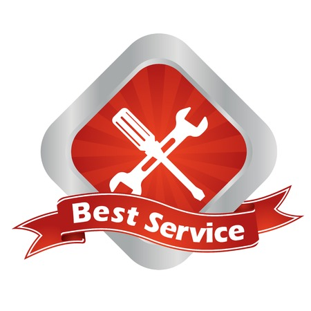 silver service: This is red - silver vector sign best service