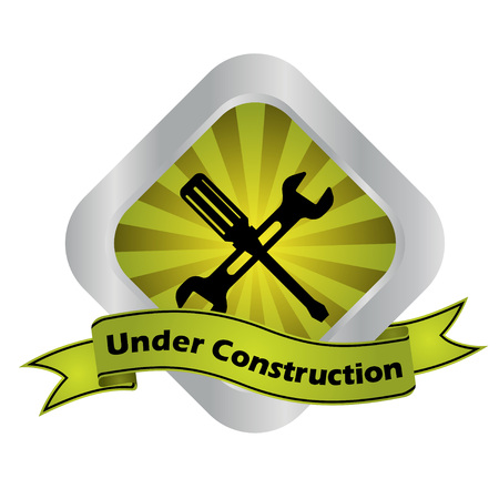 vector sign under construction: This is yellow - silver vector sign under construction Illustration