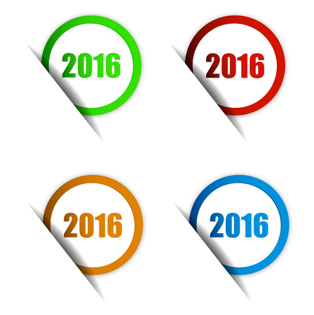 This is set four sign vector paper elements  green, red, orange, blue stickers happy new year 2016 Ilustracja
