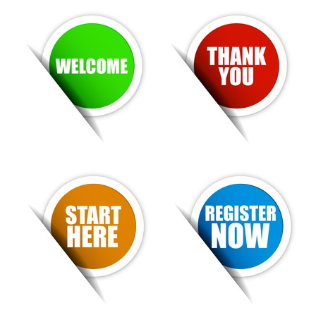 start button: This is set vector paper elements  green sticker welcome  red sticker thank you  orange sticker start here  blue sticker register now