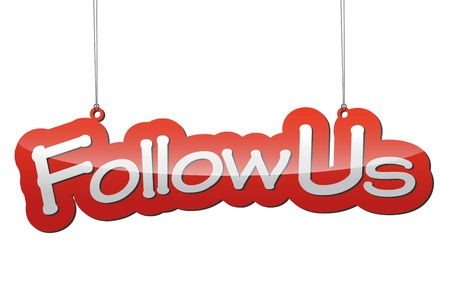 follow: This is red vector background follow us Illustration