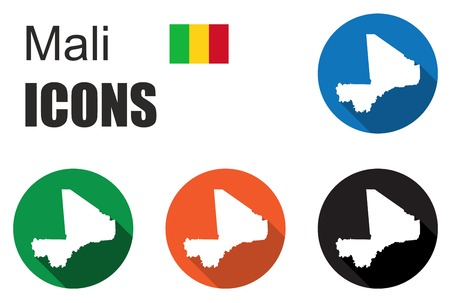 bamako: This is set colorful map flat icons state mali Illustration