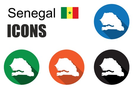 dakar: This is set colorful map flat icons state senegal