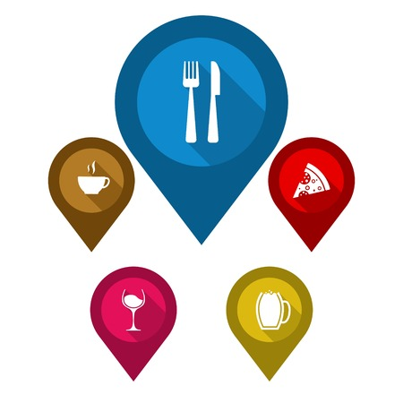 map wine: This is set vector map pointers blue pin restaurant  brown pin cafe  purple pin wine yellow pin beer