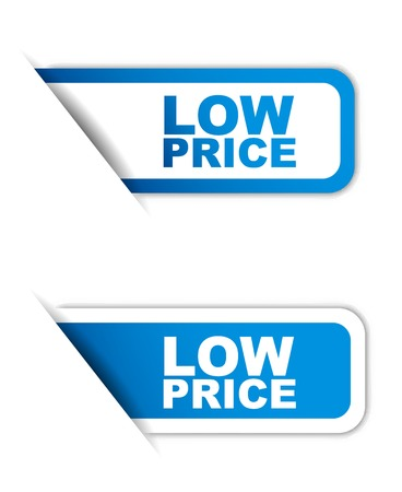 low price: This is blue paper element sticker low price in two variant Illustration