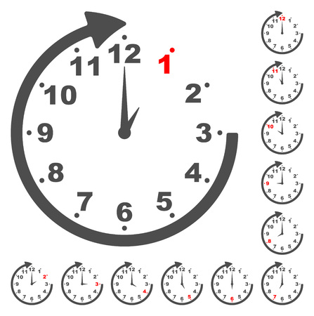 This is set gray clock icons for every time Illustration