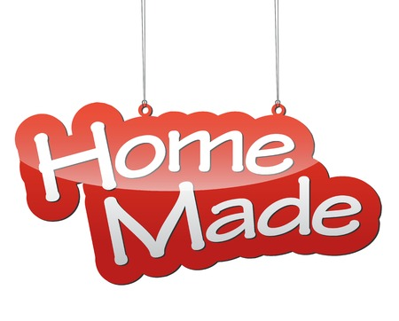 home made: This is red background home made Illustration