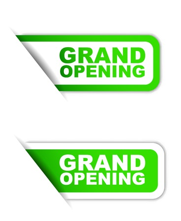 inaugural: This is green paper element sticker grand opening in two variant Illustration