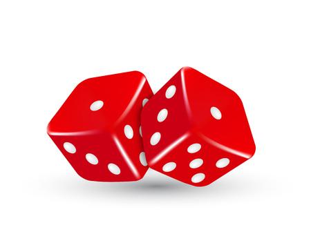 dados: Se trata de casino ilustración vectorial dos dados rojos
