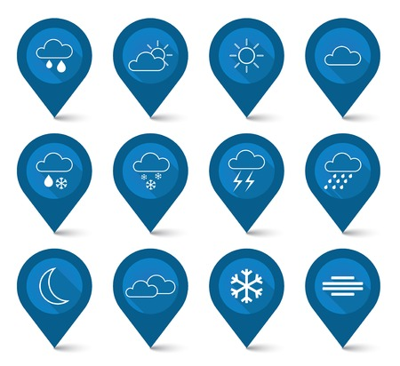 This is set of weather blue icons - map pointer style Illustration
