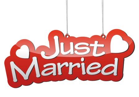 casados: Este es el fondo rojo vector de recién casados