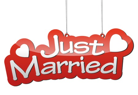 This is red vector background just married Stock fotó - 49934904
