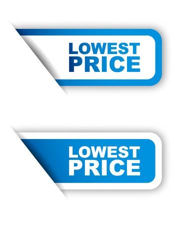 Esta es azul etiqueta de papel precio más bajo dos variantes Ilustración de vector