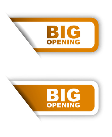 grand sale sticker: This is orange paper sticker big opening two variant
