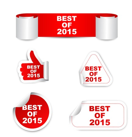 best quality: This is red set vector paper stickers best of 2015 Illustration