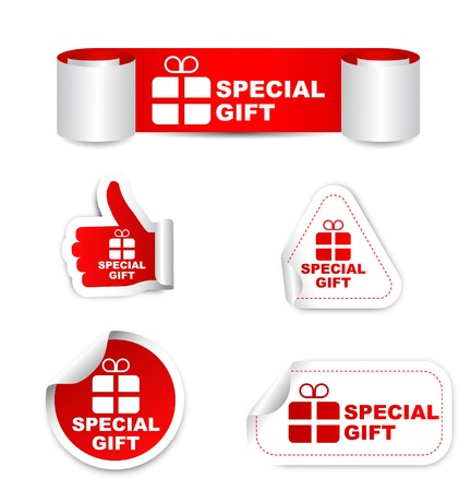 This is red set vector paper stickers special gift with icon