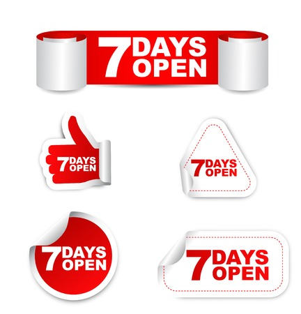 days: This is red set vector paper stickers 7 days open