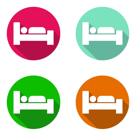 This is vector set colorful flat icons bed
