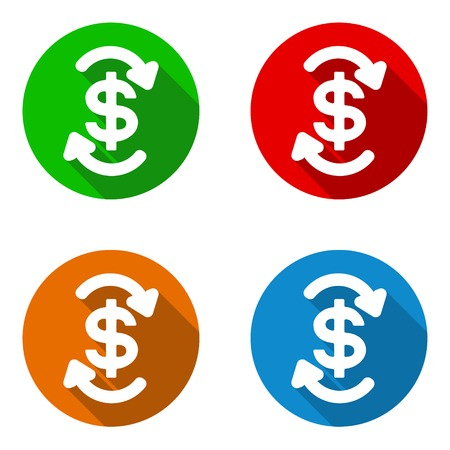 currency symbol: This is vector set colorful flat icons cash flow